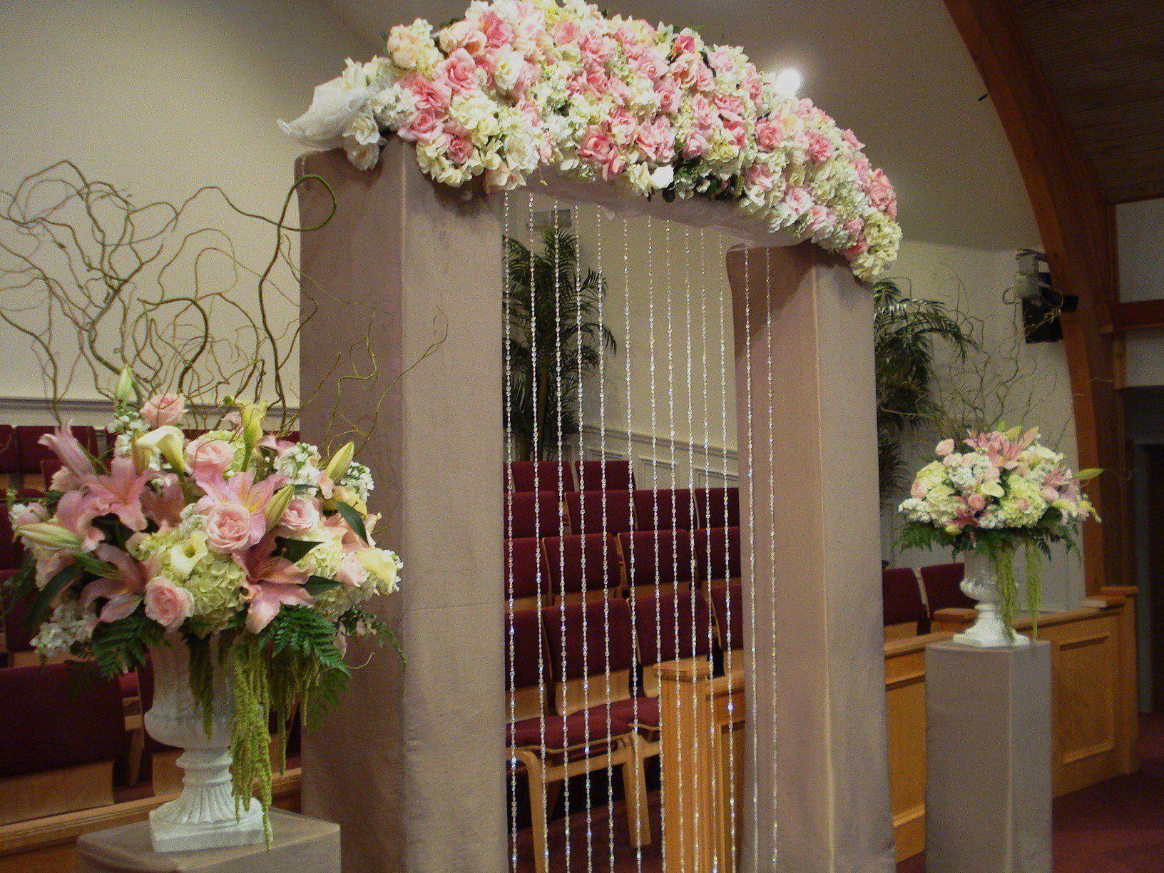Pink wedding flowers ceremony flowers church indoor decor in white pink wedding flowers ceremony flowers church indoor decor in white urns httpsophisticatedfloral junglespirit Choice Image