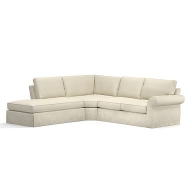 Pearce Slipcovered Left 3 Piece Bumper Wedge Sectional