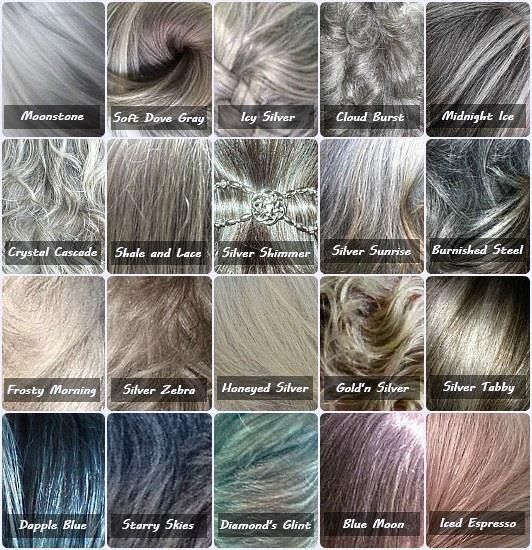 gray color chart - because not all gray hair is the same! @mary