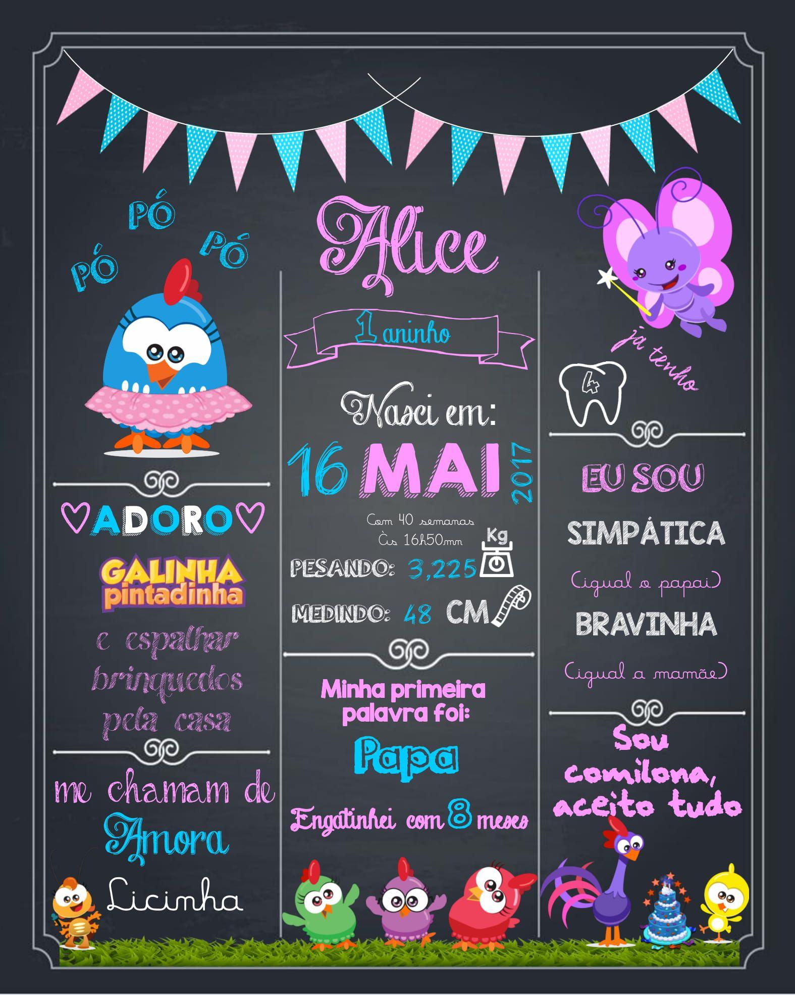 Chalkboard Galinha Pintadinha Mini Rosa Chalk Chalkboard