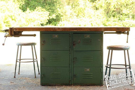 Vintage Wood Shop Table W Locker Base Butcher By