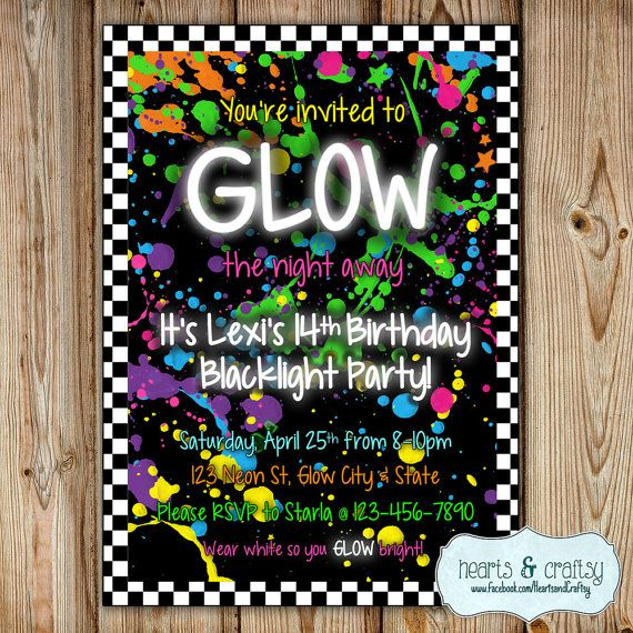 Glow In The Dark Party Invitation Neon Birthday Invitation