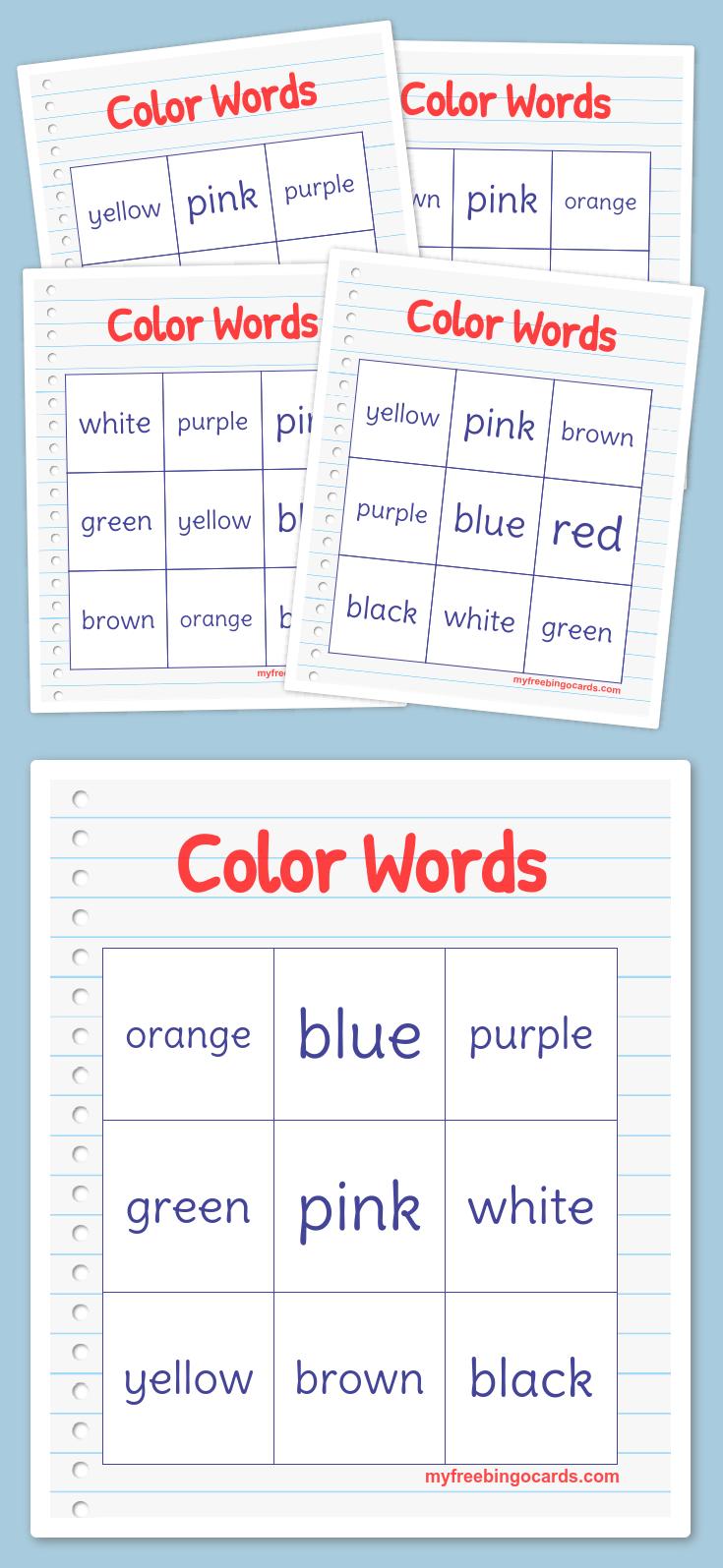 Color Words Bingo Bingo Cards Word Bingo Bingo Card Generator [ 1595 x 735 Pixel ]