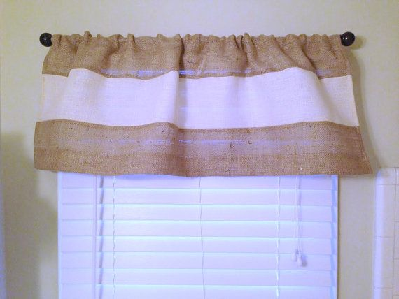 Modern Burlap Valance Rustic Chic Home Decor Burlap Curtain Burlap Window Treatment Coastal Decor Custom Size Available Farmhouse Curtains #burlapwindowtreatments