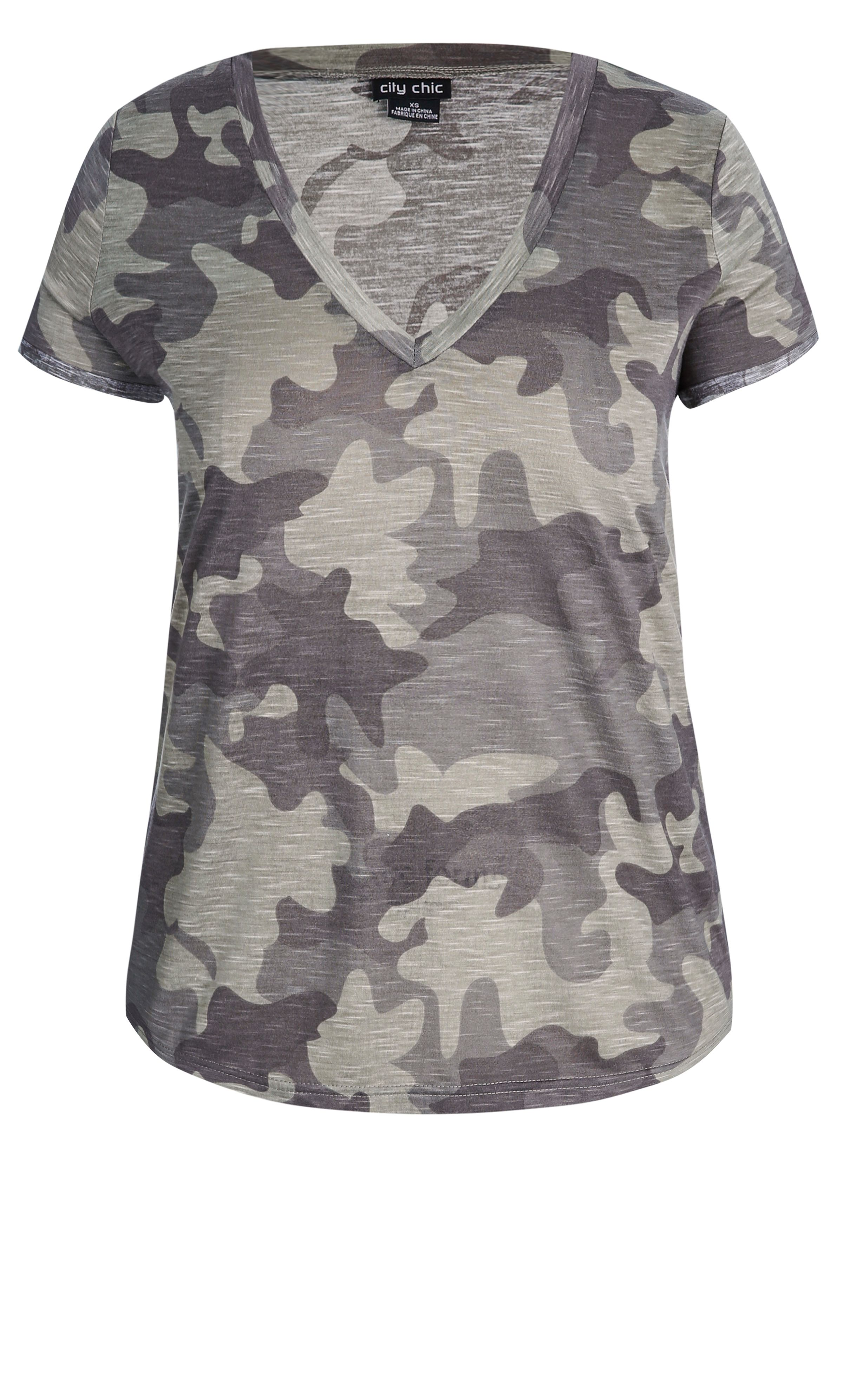 grunge up your day-to-day look with the cool camouflage top. key