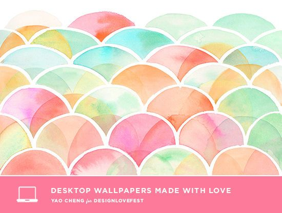 Pretty Free Hand Painted Desktop Modern Pink Aqua Orange DRESS YOUR TECH By Design Love Fest