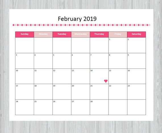Printable February 2019 Calendar Seasonal Monthly Calendar Cute