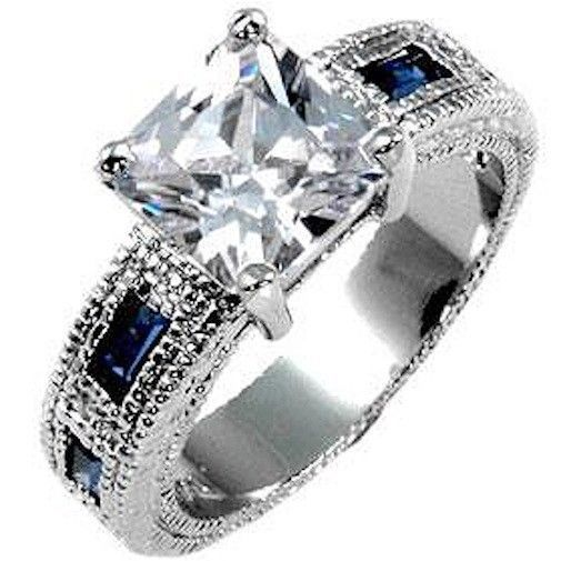 Montana Blue Cubic Zirconia Silver Cocktail Ring Plus Size 9 10 USA Seller