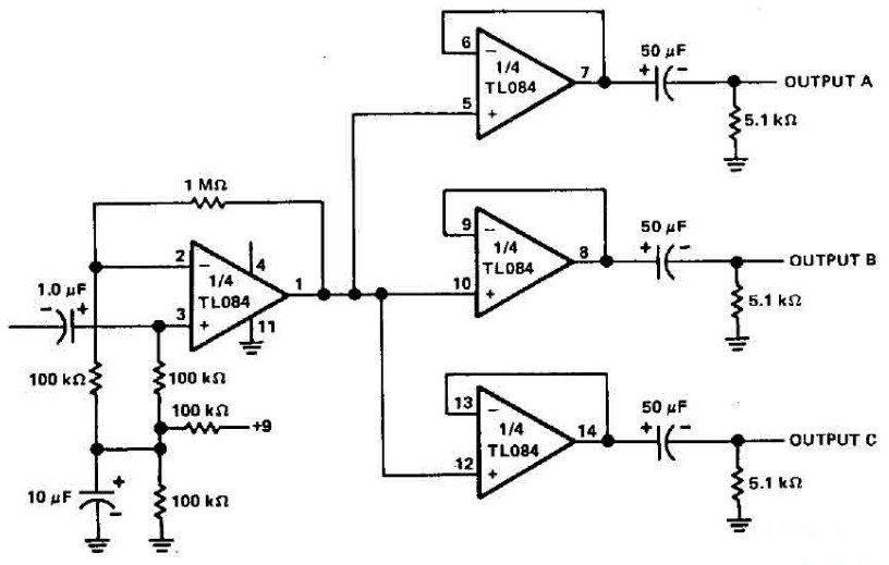 3 Channels Audio Splitter Amplifier Circuit Diagram