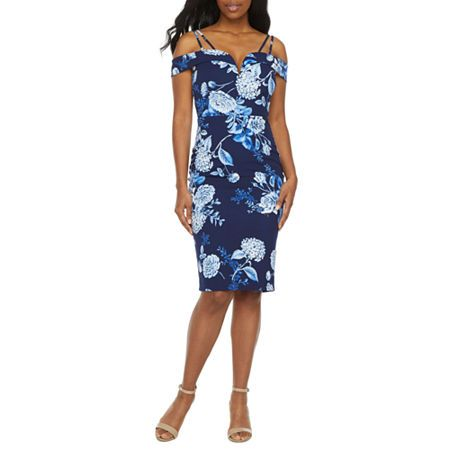 Premier Amour Cold Shoulder Floral Sheath Dress, Color: Navy Denim - JCPenney