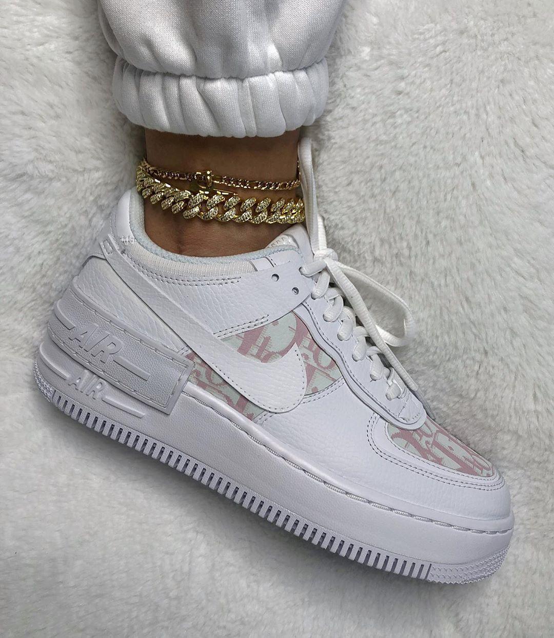 Nike Air Force 1 Shadow x Dior Custom Sneakers Fashion Air