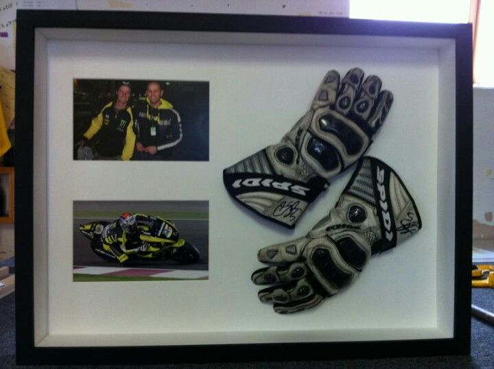 Signed motor racing gloves and photos.