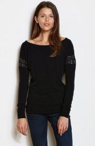 Armani Exchange Womens Off-the-Shoulder Studded Pu