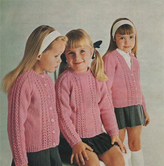 51c4439b9ce6 Girls Cardigan and Sweater Knitting Pattern PDF Girls 22
