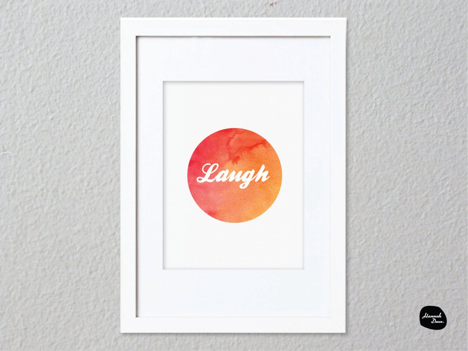 LAUGH WALL ART - Home Decor Print - Laugh Circle Design by HannahDeanDesigns on Etsy