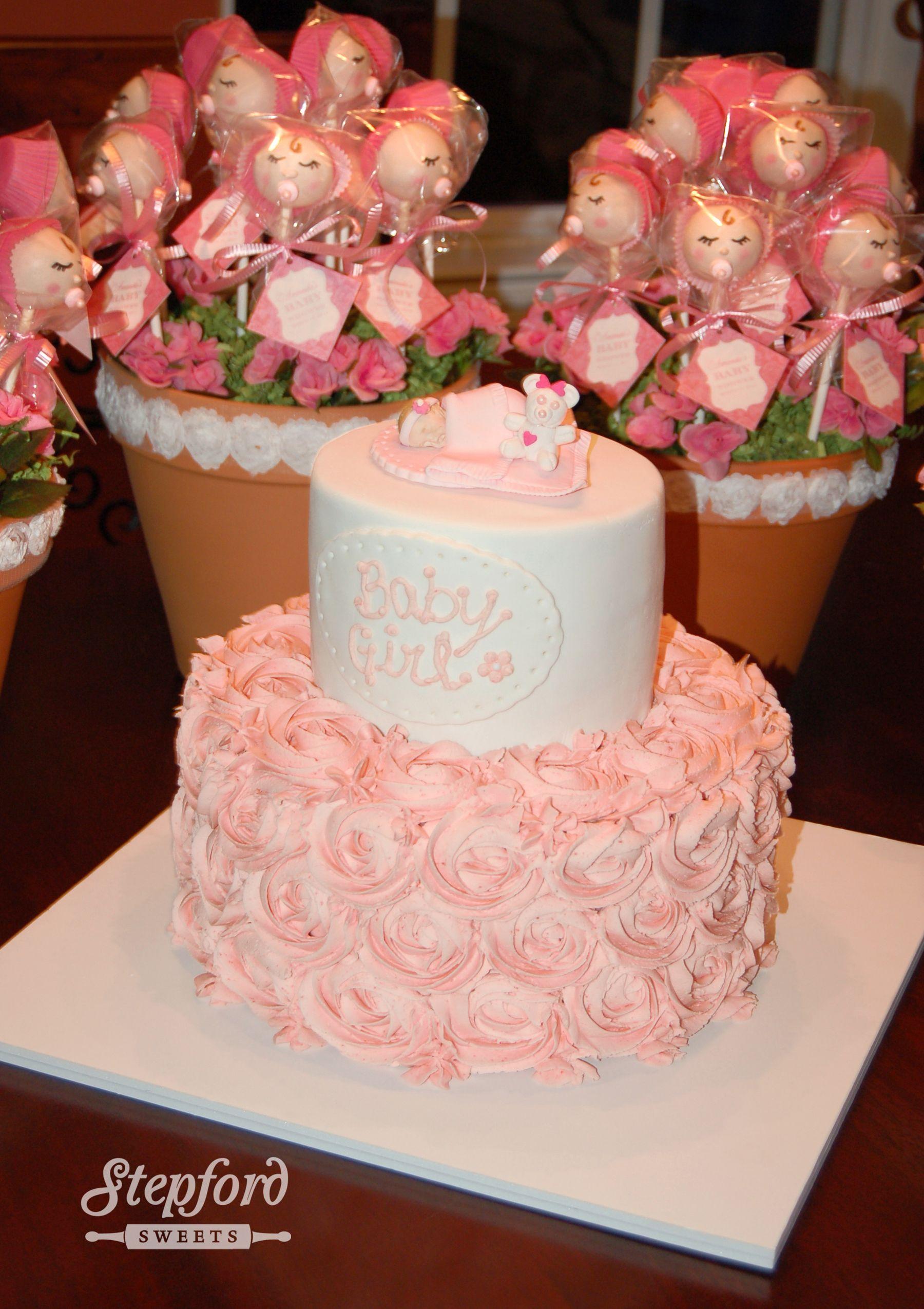 Custom Baby Shower Rose Cake And Baby Girl Cake Pops