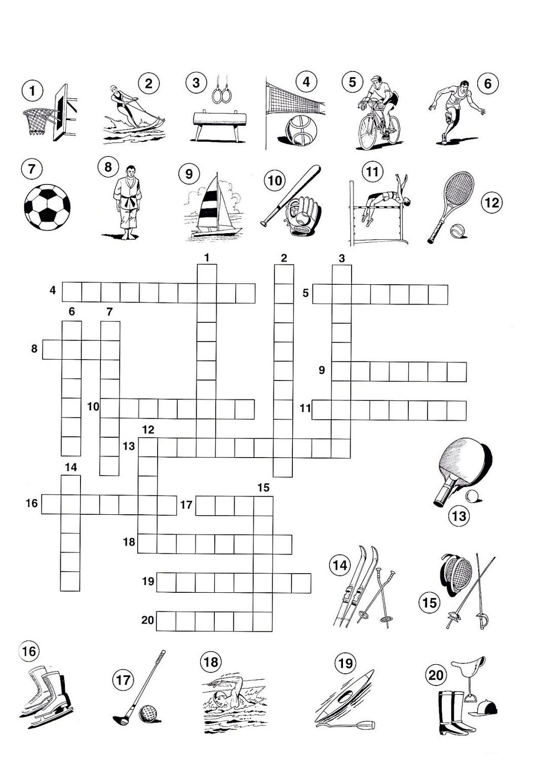 Sport Crossword Puzzles For Children