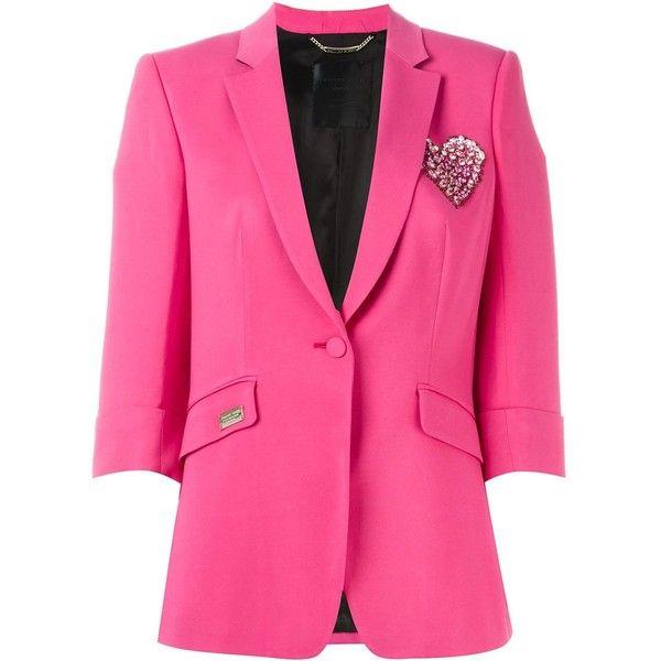 Philipp Plein Scouts Blazer ($828) ❤ liked on Polyvore featuring outerwear, jackets, blazers, philipp plein, pink blazer jacket, 3/4 sleeve jacket, pink jacket and philipp plein jacket
