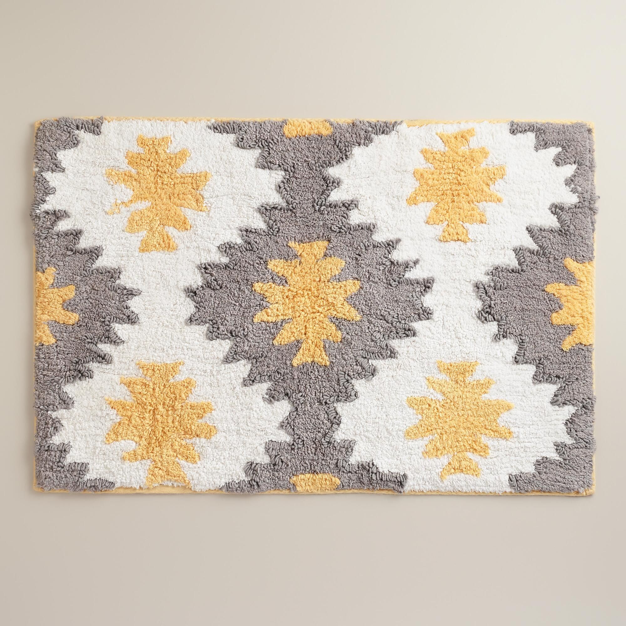 Yellow And Frost Gray Aztec Bath Mat World Market
