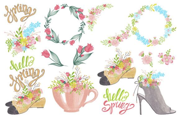 March spring. Hand painted clipart girls