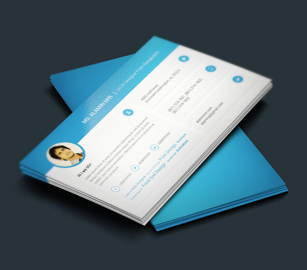 PSD Template Resume Free Download Photoshop PSD Template Resume - Business card design template free