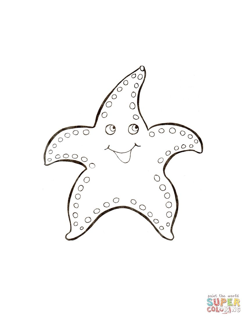 Sea Star Coloring Page Supercoloring Com Star Coloring Pages