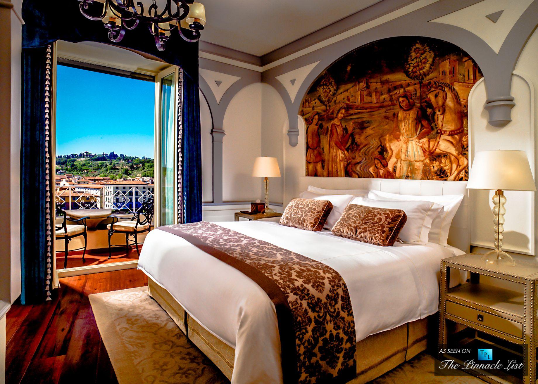 Florence Italy St Regis Luxury Hotel Grand Deluxe Suite Palazzo Vecchio Master Bedroom