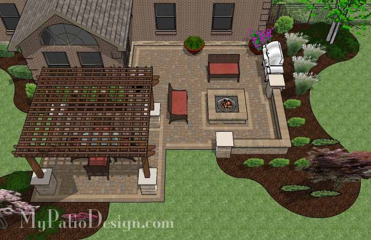 large backyard patio design with pergola, built-in fire pit and ... - Back Patio Designs