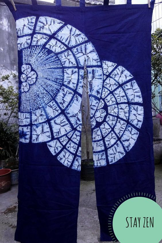 Handcrafted Noren Tie-dye Curtain, handmade Mandala Shibori Door curtains: