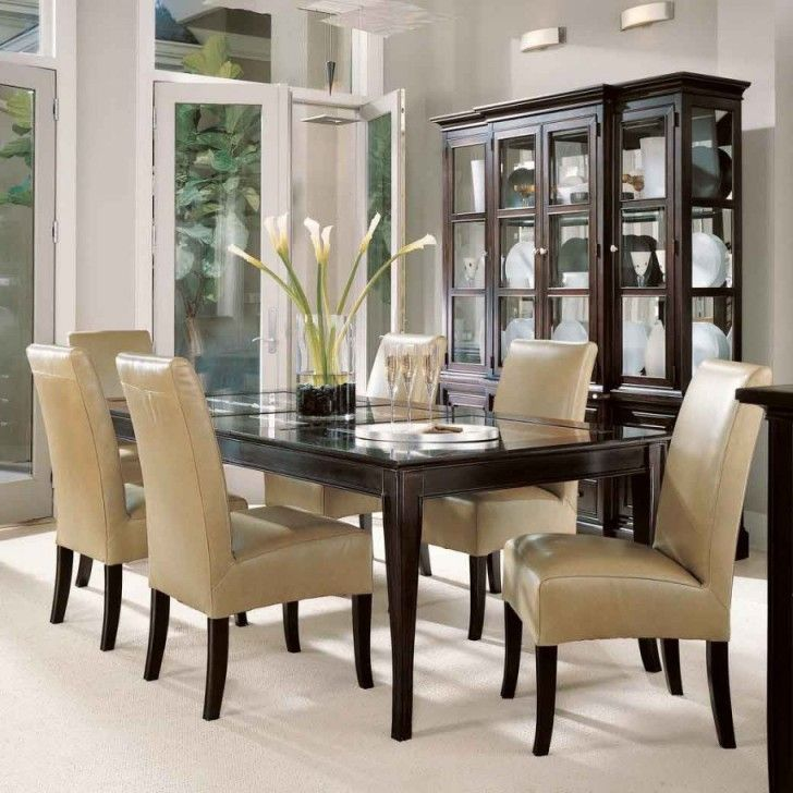 Delightful Dining Table With Glass Top: Cool Replacement Dining Table Glass  Top Wood Base Brown