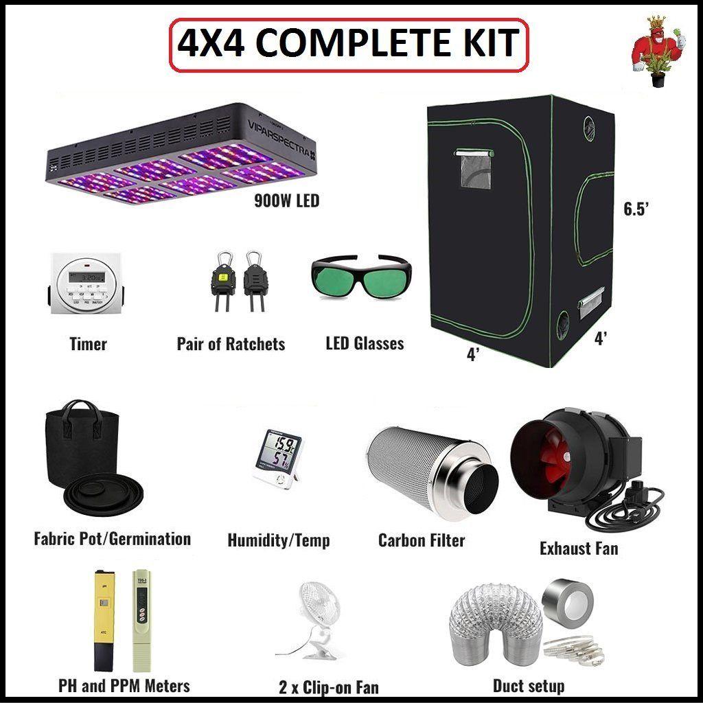 4x4 COMPLETE KIT Led grow lights, Digital timer, Carbon