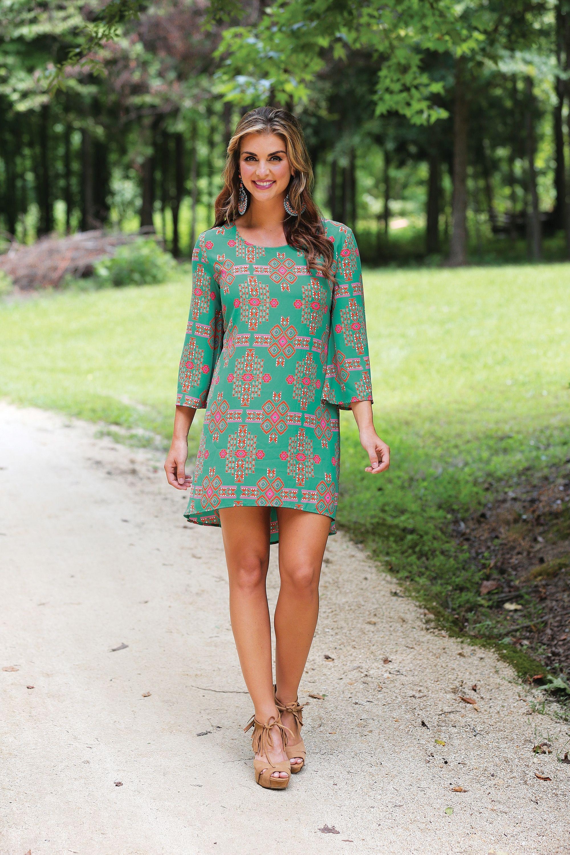 Wrangler Western turquoise long bell sleeve dress with hi low hem
