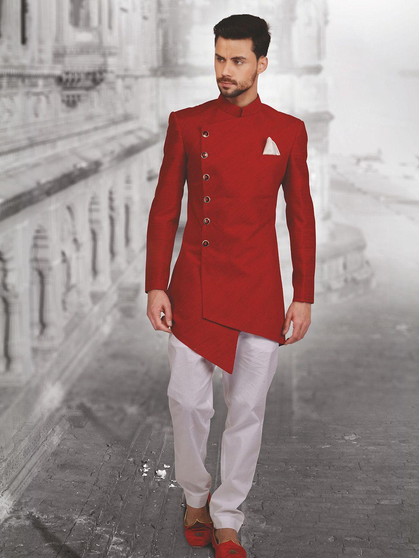 Shop plain red hue designer silk indo western online from gfashion