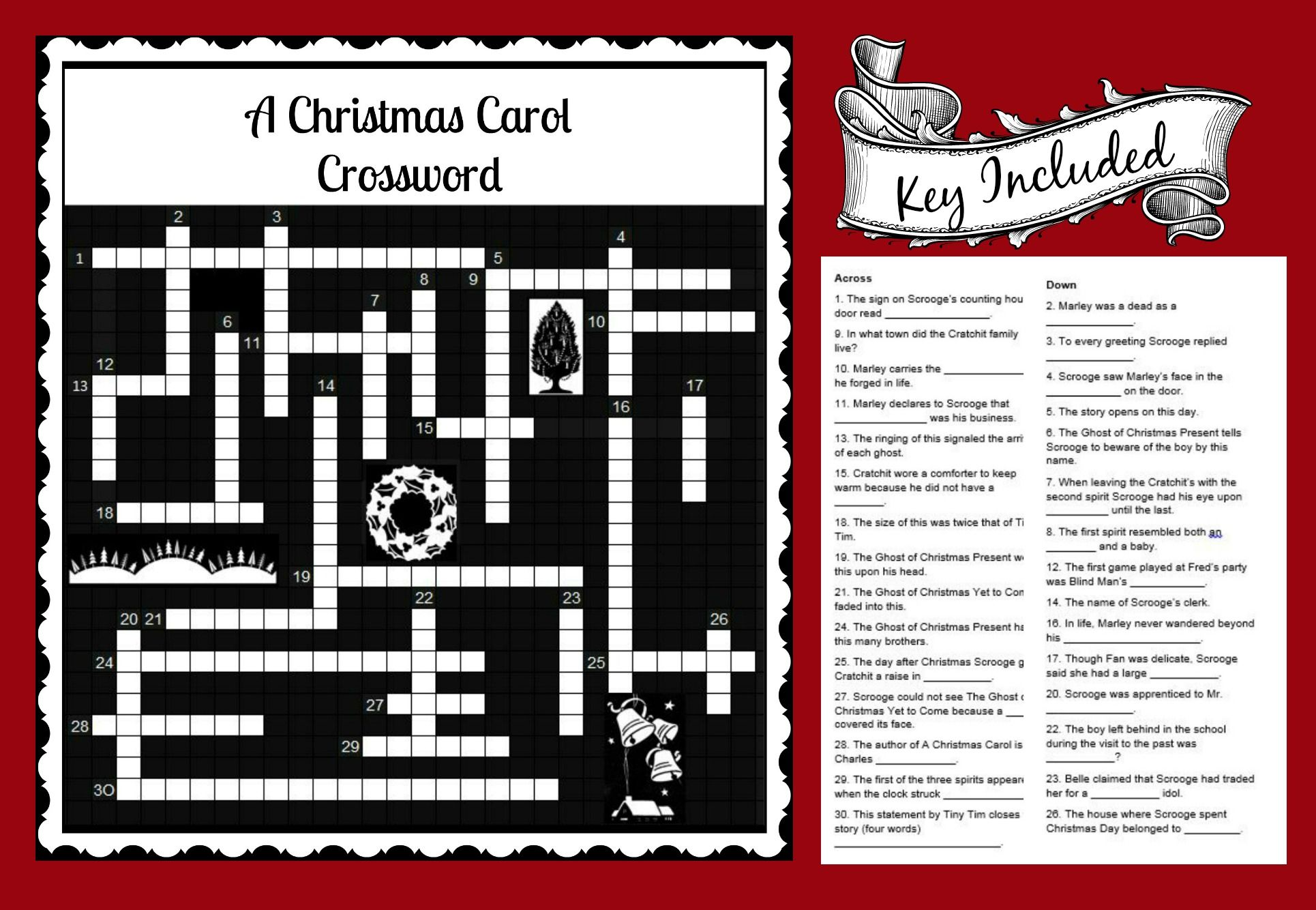 A Christmas Carol Crossword Fun Activity To Use With