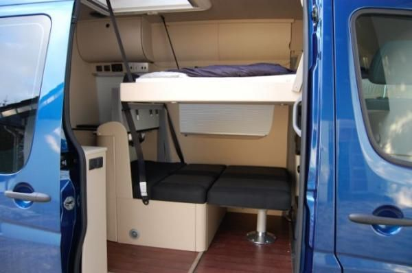 domo 520 sprinter conversion with both beds deployed sleeping 4 people in a 118 sprinter van. Black Bedroom Furniture Sets. Home Design Ideas