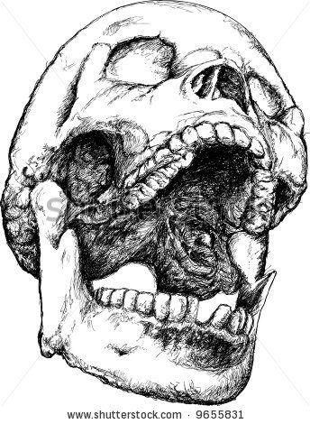 screaming skull illustration