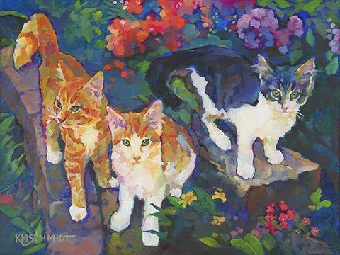 Louisiana Edgewood Art Paintings by Louisiana artist Karen Mathison Schmidt: Garden Purrennials on parade