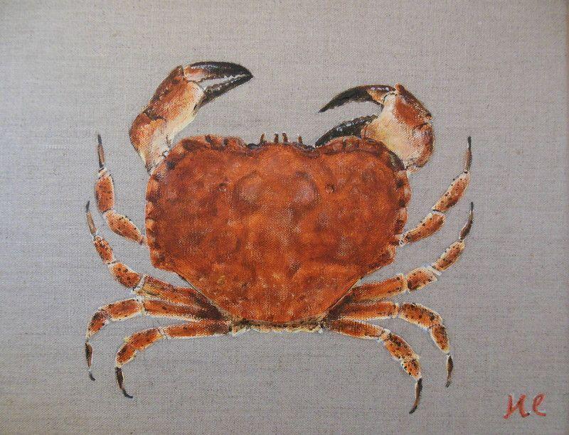 crabe, sur toile de lin, 27x35cm etsy | mes peintures, poissons et