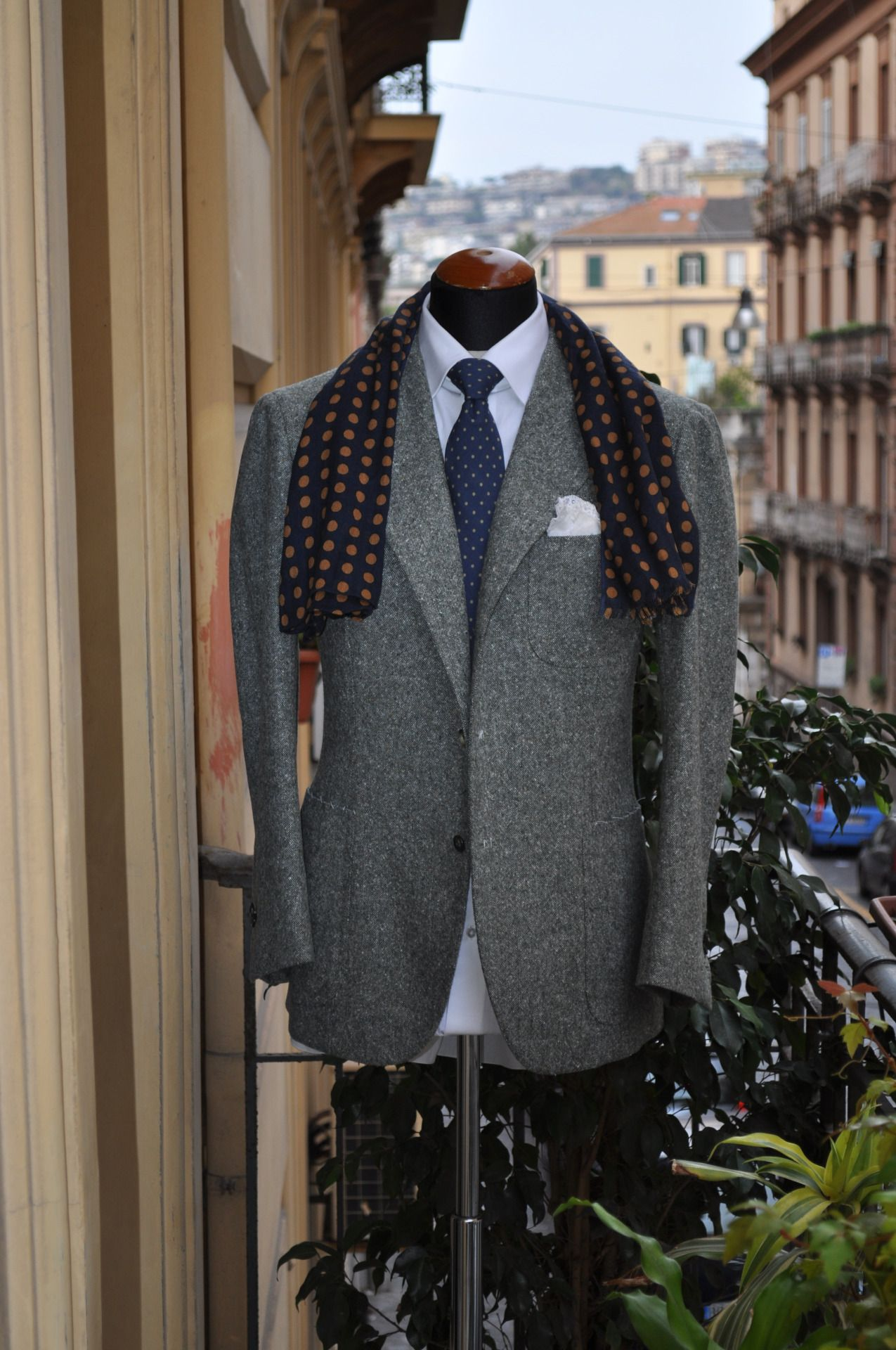 dbca4c35a05c Neapolitan Jacket with Loro Piana Grey donegal fabric