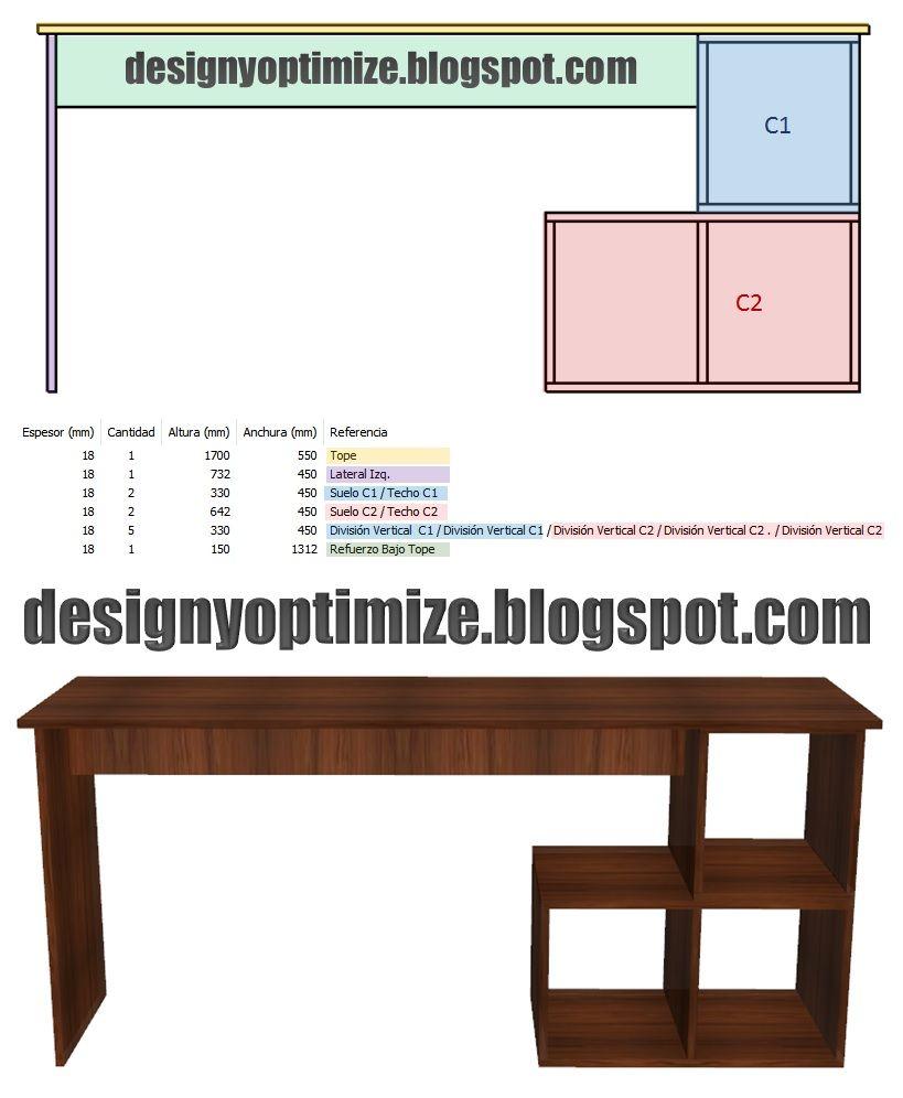 Dise o de muebles madera escritorio biblioteca planos for Construccion de muebles de madera