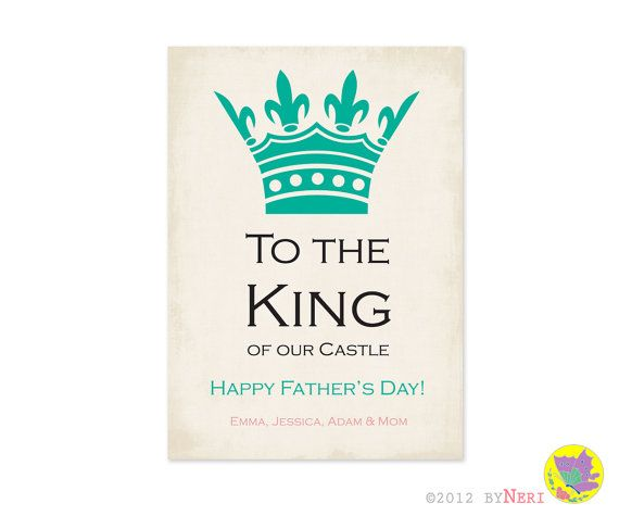 Fathers day greeting card design party invitation design fathers day greeting card design party invitation design printable digital file wife to husband king of the castle 1500 via etsy m4hsunfo