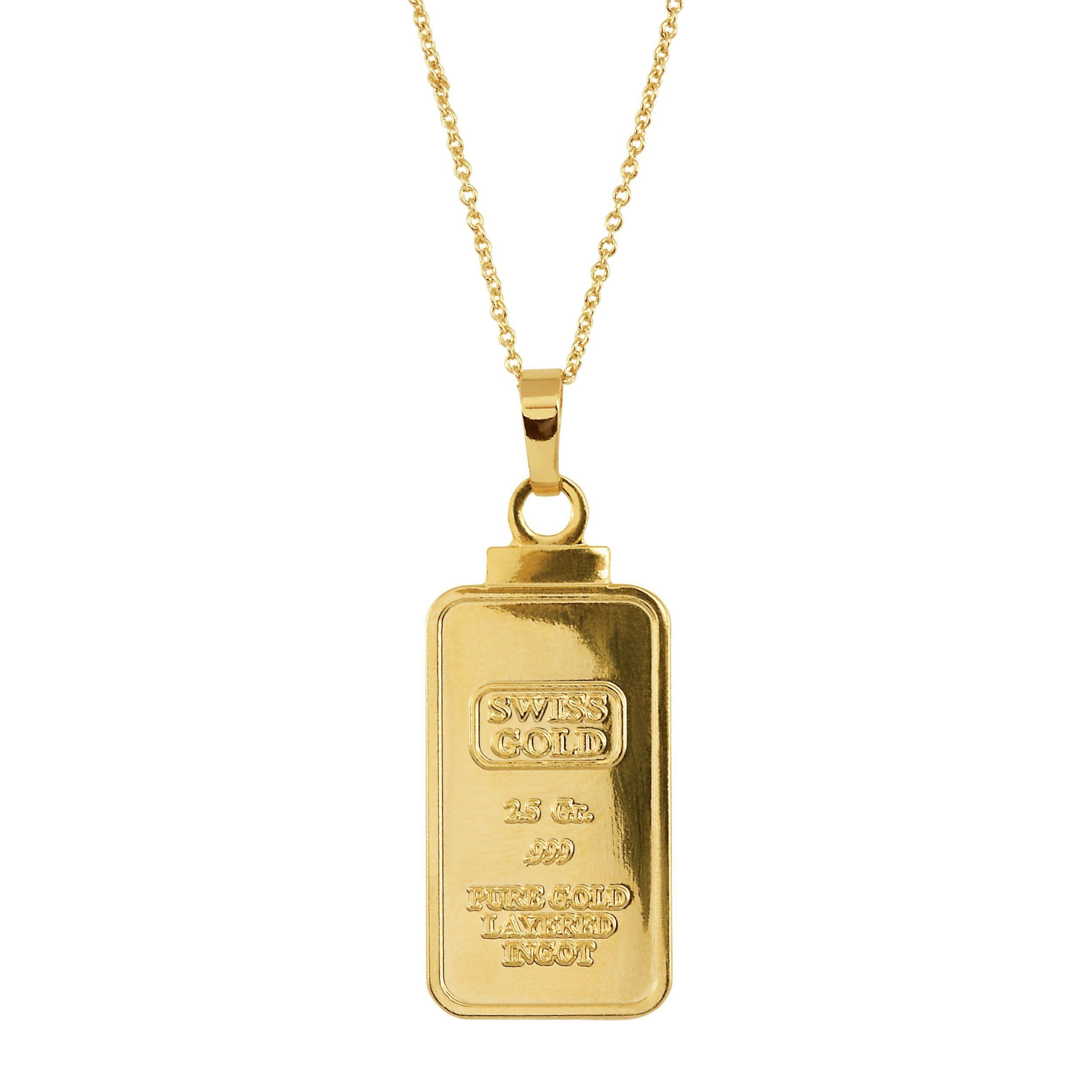 American Coin Treasures 2 5 Gram Swiss Ingot Replica Coin Pendant Layered In 24kt Gold Coin Pendant Jewelry Pendant
