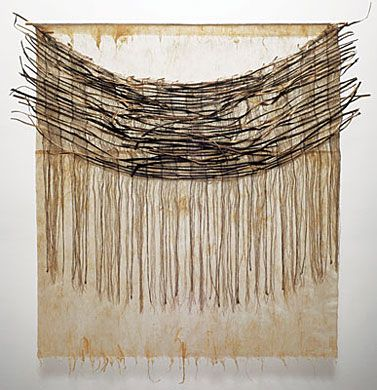 "One Evening by Young-Ok Shin dry arrowroot vine, linen thread, Korean paper, 50"" x 45"" x 2"", 2009"