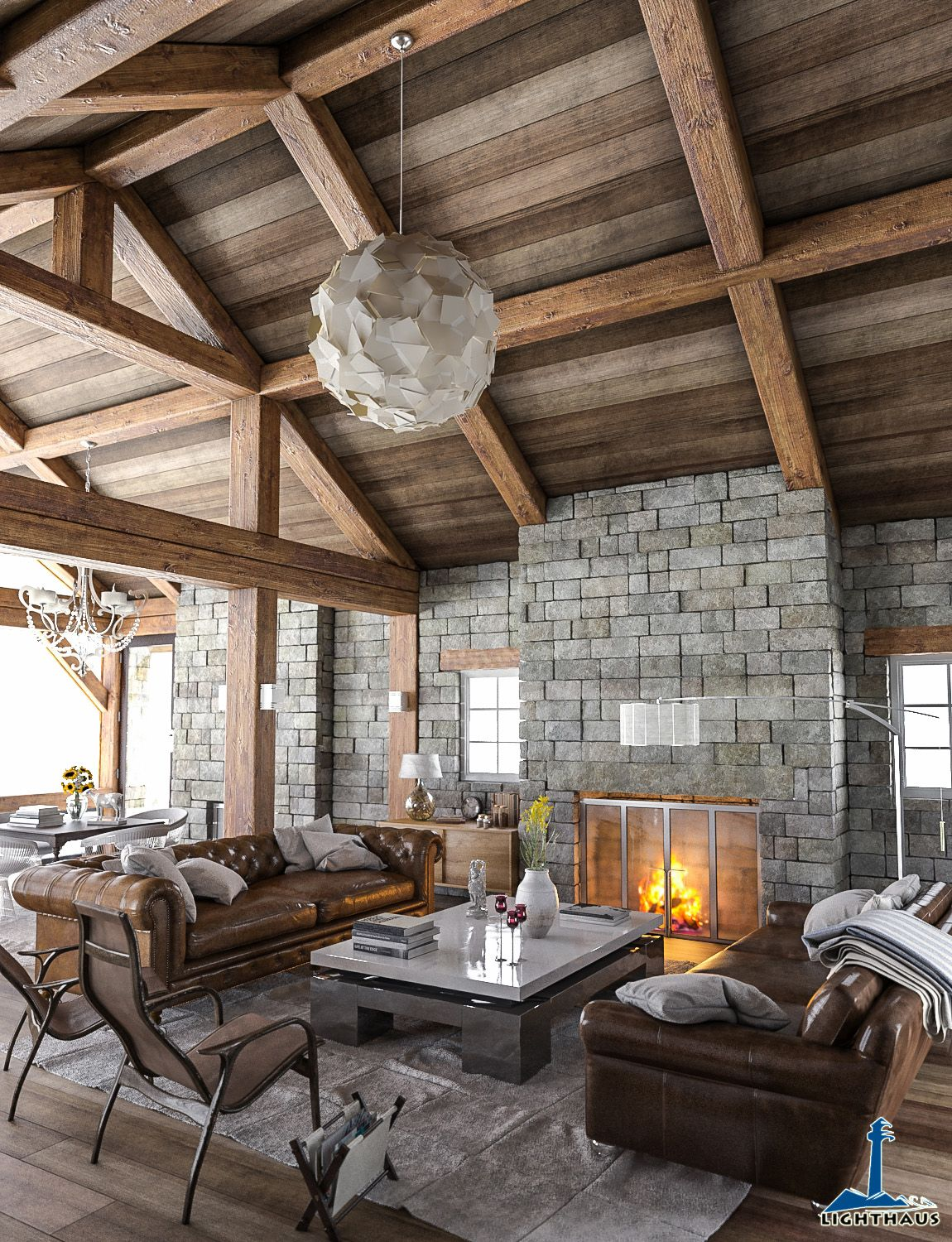 Rustic interior created by lighthaus studio using 3ds max for Rustic hotels near me