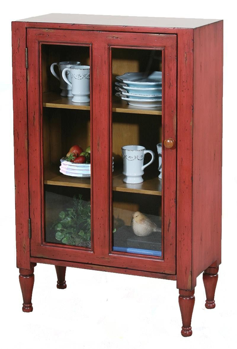 Ultimate Accents Keeping Room Red Glass Door Cupboard