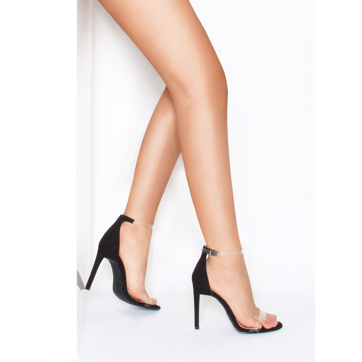 3d0740636bb Lanie Black Suede Perspex Barely There Heels   Simmi Shoes