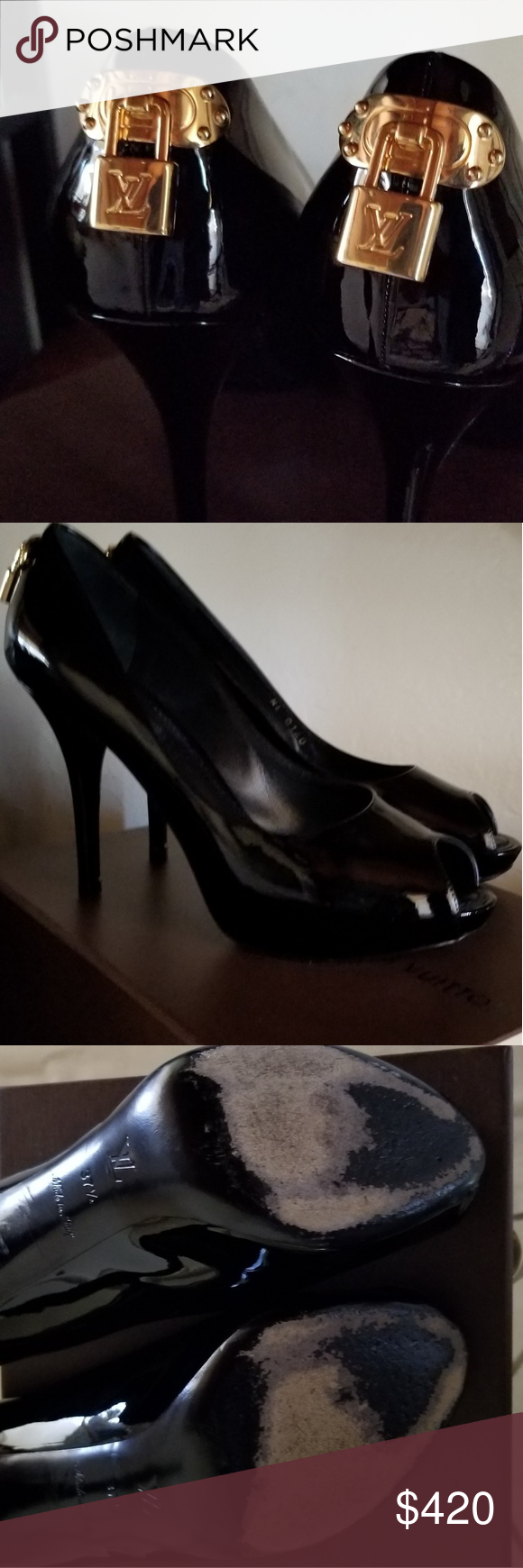 8e97739b344c Louis Vuitton Black Covered Platform Heels Stunning Black Gold Patent  Leather Oh Really Peep-toe