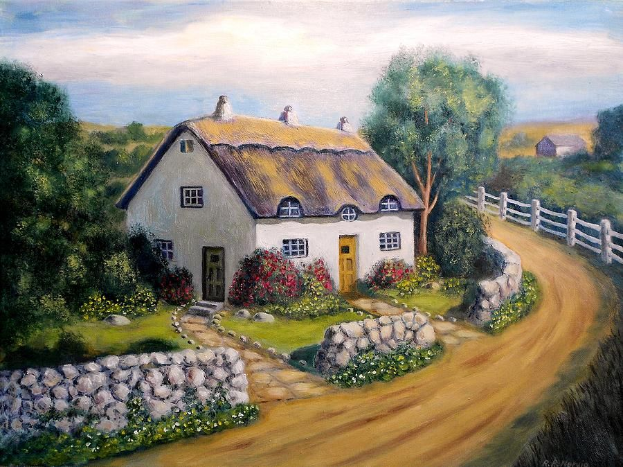 English Cottage Painting Cottage Art Country Cottage Decor English Cottage