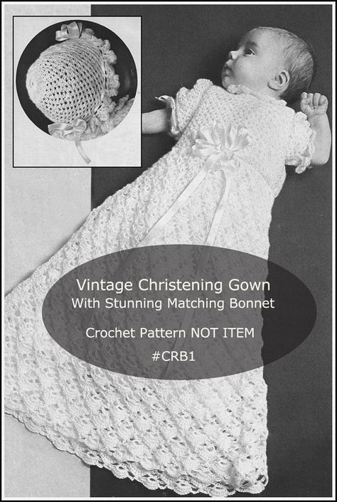 PDF-Vintage Taufe Kleid häkeln Muster CRB1 von DurhamDeals auf Etsy ...