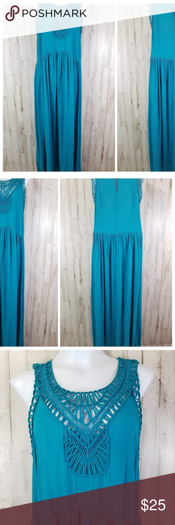 1f80064b681d Anthropologie Mermaid Womens Maxi Dress Turquoise Anthropologie Mermaid  Womens Maxi Dress Turquoise Sleeveless Macrame Day Size